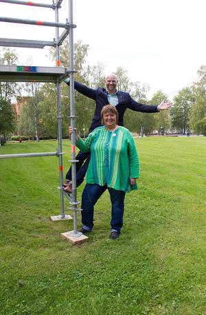 Anders Edvinsson (S) och AnnSofie Andersson (S) presenterade partiets satsningar på kultur i Östersund.