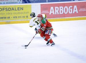 Jonas Westerling här från ett av vinterns möten mot sitt gamla lag AIK. Just AIK och Mora är de två klubbar som Westerling varit med och spelat upp i högsta ligan.