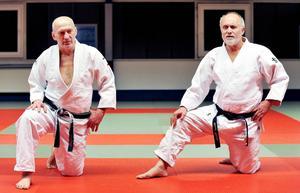 Judo Sundsvalls Wolfgang Biedron och tyske judotränaren och författaren Ulrich Klocke.