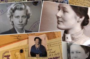 Några svenska SS-fruar, däribland Sara Toll, med kors på kragen. Sara avled i Dalarna 1992. Hon hade då gift sig och bytt efternamn.