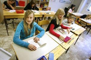 Gabriella Mårtensson och Julia Lindkvist går i fyran på Trädgårdsskolan och tycker att det är mysigt att skolan är så liten. Filippa Forsling var i skolan för att hälsa på.