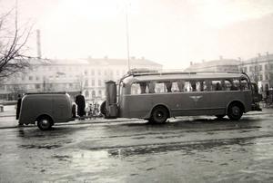 Gengasbuss på Stortorget i Gävle.