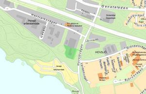 Den gröna markeringen i kartan visar den tomt som Hemsö äger. Karta: Södertälje kommun