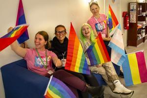 Malin Lucchesi, Malou Sköld, Jonna Jonsson och Emelie Lundin i den lokala prideföreningen ser fram mot årets Bollnäs Pride.
