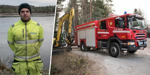 Trots att räddningstjänsten var larmad tvekade inte Joakim Åkerström en sekund över att själv ta sig ut till katten i vattnet.