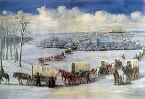 Mormoner på färd mot nya trakter. Målning från 1878 av den dansk-amerikanske konstnären C. C. A. Christensen som i sin konst skildrade mormonernas liv och historia.