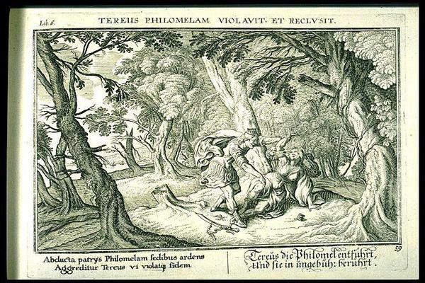 Tereus våldtar Filomela i Ovidius