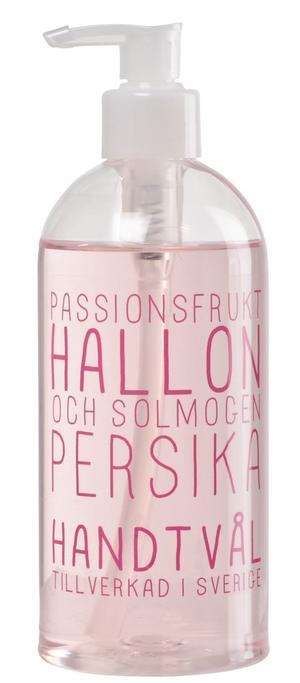 Söta dofter. Pumptvål som doftar passionsfrukt, hallon och persika. Pris: 59 kronor på Lagerhaus.