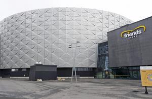 Friends Arena i Solna, nationalarenan för fotboll, byggdes delvis av Strängbetong med betong tillverkad av grus från Kungsör. Foto Bertil Enevåg Ericson/TT