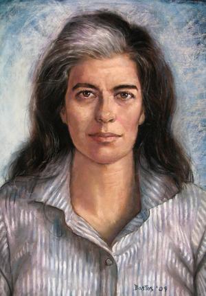 Susan Sontag 1994. Målning av Juan Fernando Bastos.