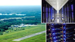 Rörbergs flygplats skulle kunna vara en bra plats för ett datacenter. Bilderna till höger är från Facebooks första datahall i Luleå som man öppnade redan 2011.