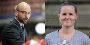 Björn Edlund, huvudtränare i Modo, och Madeleine Östling, huvudtränare för Linköping. På tisdagskvällen gör deras lag upp i den första SM-semifinalen. Bild: Oskar Magnusson och Bertil Ericson/TT