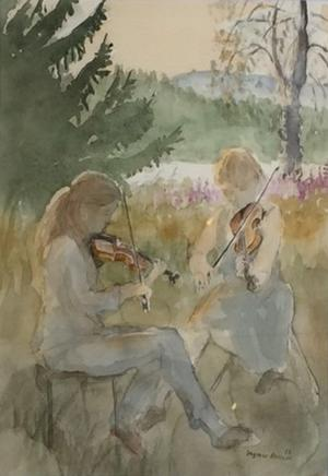 Målning av Ingmar Ericson med två kvinnor som spelar fiol ute i det fria.