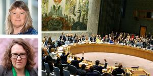 Miljöpartiets Elisabeth Falkhaven (överst) och Camilla Hansén skriver om svensk säkerhetspolitik. De lyfter bland annat upp Sveriges tid i FN:s säkerhetsråd och arbetet där för klimat och säkerhet.FOTO: John Alexander Sahlin/TT  (stora bilden)