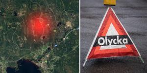 Två bilar frontalkrockade utanför Orsa. Karta: Google.