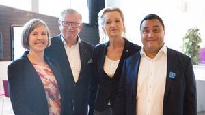 Det nya majoritetsbygget i Södertälje kommun: Hanna Klingborg (MP), Tage Gripenstam (C), Boel Godner (S) och David Winerdal (KD).