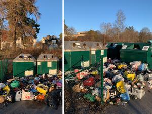 Det här var läget på Stallhagen den 31 december (till vänster) och 4 januari (till höger). FTI:s personal hade däremellan tömt behållarna, men lämnat kvar berget av sopor utanför.