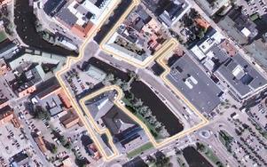 Det röda inringade årummet vill Falu kommun förändra när busstrafiken mer eller mindre försvinner under 2014. Allmänheten bjuds in att komma med förslag. Foto: Falu kommun