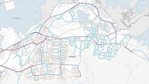 RÖTT: Prioriterade cykelvägar - tre centimeter ORANGE: Övriga cykelvägar -  fem centimeter BLÅ: Bussgator - sex centimeter, TURKOS: Bostadsgator och övriga gator och vägar - åtta centimeter