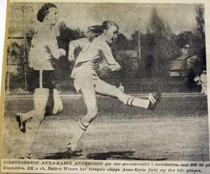 Anna-Karin Andersson gör mål mot BK30 i premiärmatchen på Ringvallen.