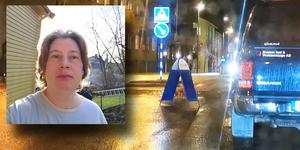 Josefine Kullenberg i Nynäshamn filmade gatuprataren när den gick förbi. Foto: Josefine Kullenberg