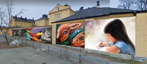 Så här kan grafittiväggen i Härnösand komma att se ut. Bild: Privat