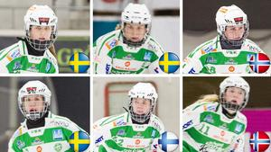 Malin Persson (Sverige), Anna Fosselius (Sverige), Charlotte Selbekk (Norge), Matilda Plan (Sverige), Linda Lohiniva (Finland) och Ingrid Bjonge (Norge) är de sex VSK-spelarna som slåss om medaljer i VM.