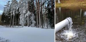 Det har blivit några högar med konstsnö på Hellidsberget. Nu väntar man på mer kyla för att kunna dra igång snötillverkningen på allvar.
