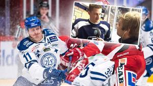 Martin Karlsson och hans lagkamrater har ett getöga på Jonathan Dahlén. Foto: Pär Olert/Bildbyrån