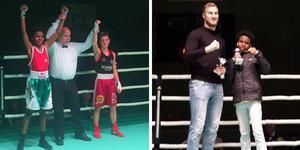 Med bländande fotarbete och en frenetisk höger vann ÖBK:s Ermas Simon pris som turneringens diplomboxare. Prisutdelare var självaste Otto Wallin, proffsboxare från Sundsvall. Bilder: Linus Gustafsson