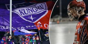 IFK Kungälv spelar i orange igen. Tröjor som sedan kommer att auktioneras ut till förmån för Jontefonden. Foto: Johan Spanås.
