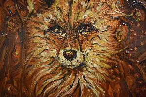 Djur har en stor plats i Lars Nyhlins konst. Här en detalj från en målning.