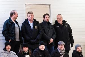 Leif Boork med Jared Cipparone (ass.tränare), Olof Östblom (landslagschef) och Benny Andersson (materialförvaltare). Foto: Kenta Jönsson / BILDBYRÅN.