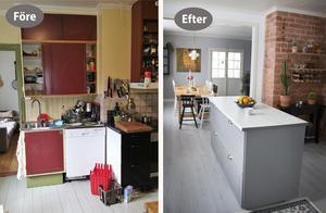 Så här såg köket ut före och efter. Murstocken har tagits fram och väggen till rummet intill har rivits.