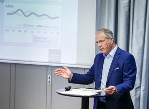 Martin Lundstedt, vd, presenterade lastbilstillverkaren Volvos delårsrapport. Foto: Magnus Andersson / TT.