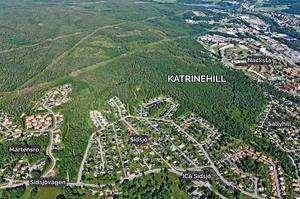 Det nya bostadsområdet Katrinehill möter motstånd. 117 synpunkter har lämnats in till kommunen och det är flera stridsfrågor. Bild: Sundsvall kommun