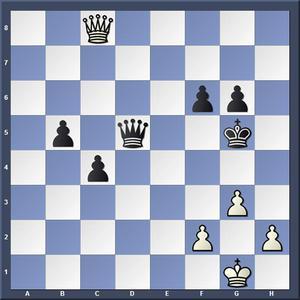Lösning: 1.f4+ Kh5 2.Dh3. /1.-,Kh6 2.Dh8.