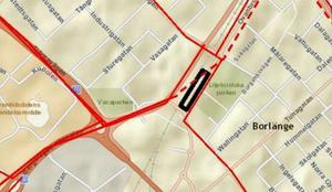 Busstrafiken kan flyttas till Ovanbroparkeringen. Det svartmarkerade området har pekats ut som framtida busstorg. Bild: Borlänge kommun.