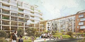Nybyggda hus och förskolegård kan störas av buller, tror länsstyrelsen. Bild: Archus arkitektur