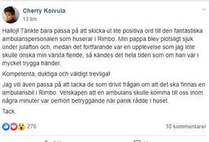 """Två dagar efteråt postade Cherry en uppdatering i gruppen """"Rimbo i vårt hjärta!"""". Den fick över trehundra reaktioner."""