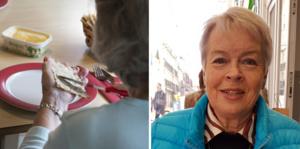 """""""Jag skulle önska att de inte hackar sönder maten  i köket, utan tar in den hel till de boende. Man måste få se vad det är för mat, annars blir det som att ta upp en burk hundmat. De kan inte ställa fram så att allt ser ut som pölsa"""", säger Ulla Britt Forsberg."""