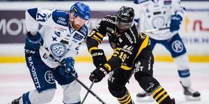 Det tog tvärstopp för Muzito-Bagenda och hans AIK mot Leksand i play off. Bild: Jesper Zerman/Bildbyrån