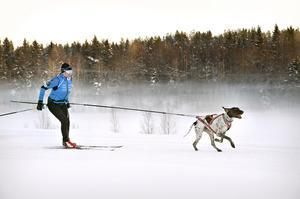 Frida Åsander tillsammans med sin hund Ernst rundar inne på stadion, Bondsjöhöjdens IP
