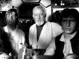 Luke Skywalker (Mark Hamill), Obi-Wan Kenobi (Alec Guinness) och Han Solo (Harrison Ford) i