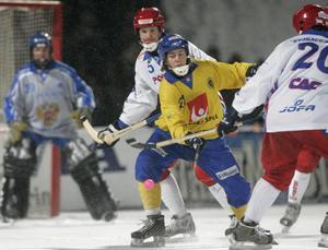 En blågul skarpskytt med hockeyfrilla (?) är 2007, när Sverige knäckte Ryssland i VM-finalen på Khimikstadion (Kemerovo) med 3-1.