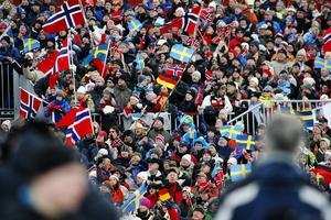 Publiktryck under VM i skidskytte i Östersund år 2008.