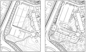 Ovanför vägen högst upp i bild ligger Allaktivitetshuset i Saltskog. Till vänster ses hur området ser ut i dag, med markparkering. Till höger ses förslaget hur det skulle kunna bli med bostäder i bildens nedre halva, vilket skulle kunna ge minst 80 lägenheter. Huset som ligger längst till höger i bild, i vinkel mot de nya, är befintliga bostäder på Myntstigen.Skiss: Telge bostäder