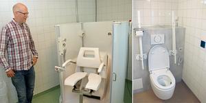 Andreas Örnehag visar en robotdusch. Bilden till höger  visar en intelligent toalett.