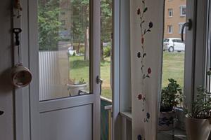 Margit Holmberg bor på första våningen men kan inte ta sig ut på egen hand. – Felet är att jag kommer ut för lite. Jag skulle kunna få promenader via hemtjänsten, men jag vill bestämma själv när jag ska gå ut, säger hon.