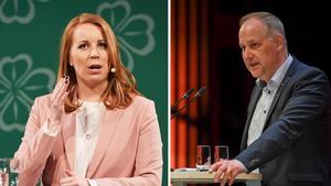 Annie Lööf (C) och Jonas Sjöstedt (V) möts i en partiledardebatt i Sundsvall. Bild: TT/Arkiv
